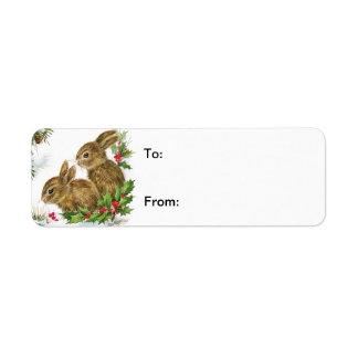 Vintage Christmas Bunnies Gift Tag Avery Label Return Address Label