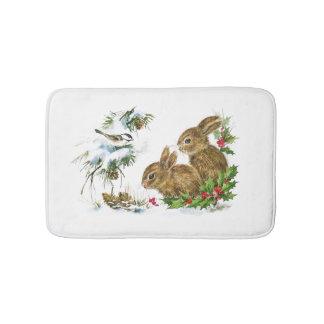 Vintage Christmas Bunnies in the Snow Bath Mat