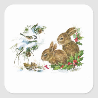 Vintage Christmas Bunnies in the Snow Square Sticker