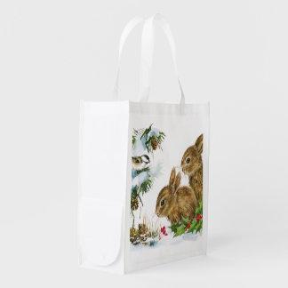 Vintage Christmas Bunnies Reusable Grocery Bag