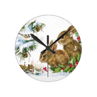 Vintage Christmas Bunnies Round Clock