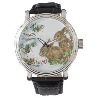 Vintage Christmas Bunnies Watch