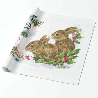 Vintage Christmas Bunnies Wrapping Paper