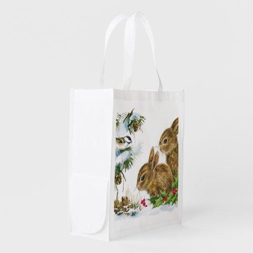 Vintage Christmas Bunnies Grocery Bag