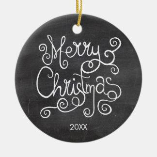 Vintage Christmas Calligraphy Chalkboard Photo Ceramic Ornament