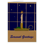 Vintage Christmas candle in the window Greeting Cards