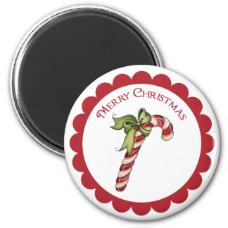 Vintage Christmas Candy Cane on round magnet