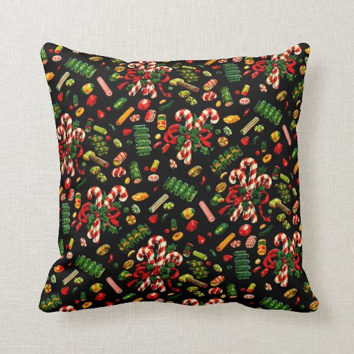 Throw Pillows Vintage Fabric : Vintage Christmas Candy Gift Wrap Fabric Throw Pillow Zazzle