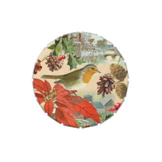 Vintage Christmas candy tin w/ bird and flower