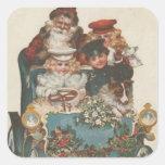 Vintage Christmas Car Square Sticker