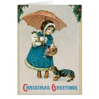 Vintage Christmas Card  - Adorable Pets