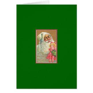 Vintage Christmas Card  ~ Black  Santa