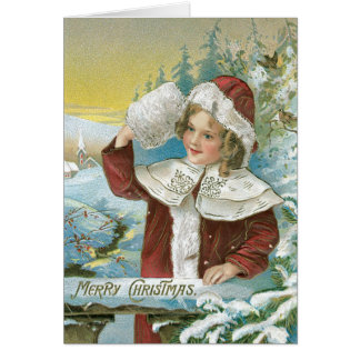 Vintage Christmas Card Child in Snow