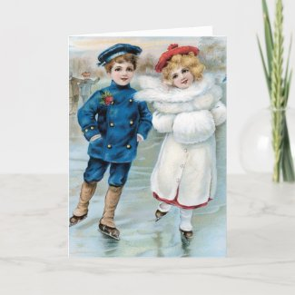 Vintage Christmas Card Children Ice Skating