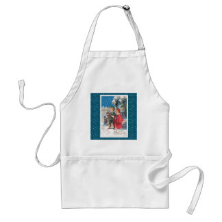 Vintage Christmas Card, Children in a Winter Scene Apron