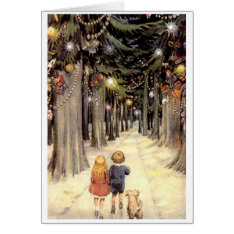 Vintage Christmas Card Children On Road With Puppy at Zazzle