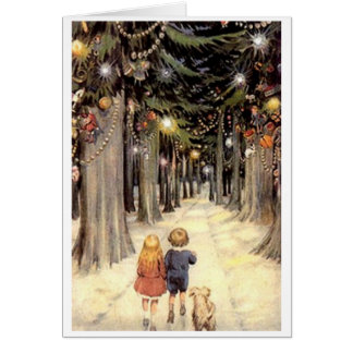 Vintage Christmas Card Children on road with puppy