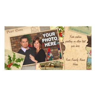Vintage Christmas Card Collage w/Custom Photo Xmas Photo Card