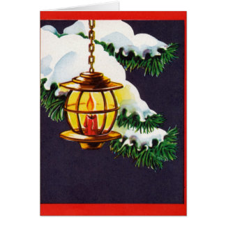 Vintage Christmas Card -Holiday Lantern