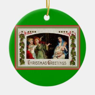 Vintage Christmas Card Ornament-Baby Jesus Ceramic Ornament