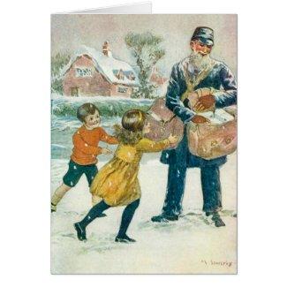 Vintage Christmas Card, Postman & kids, Customize