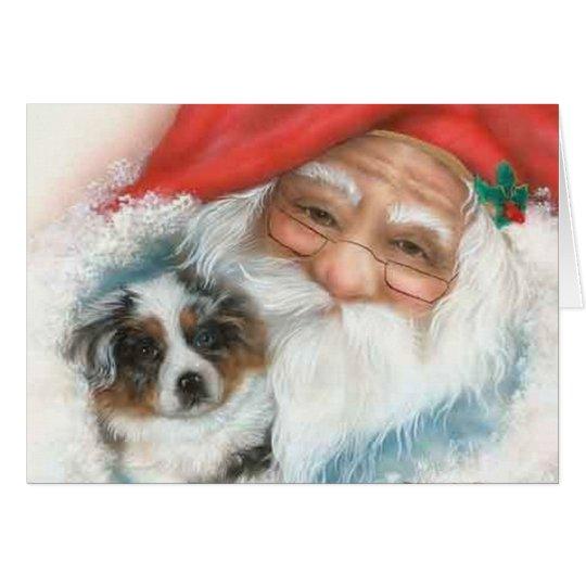 Vintage Christmas Card~Santa and Border Collie Pup Card