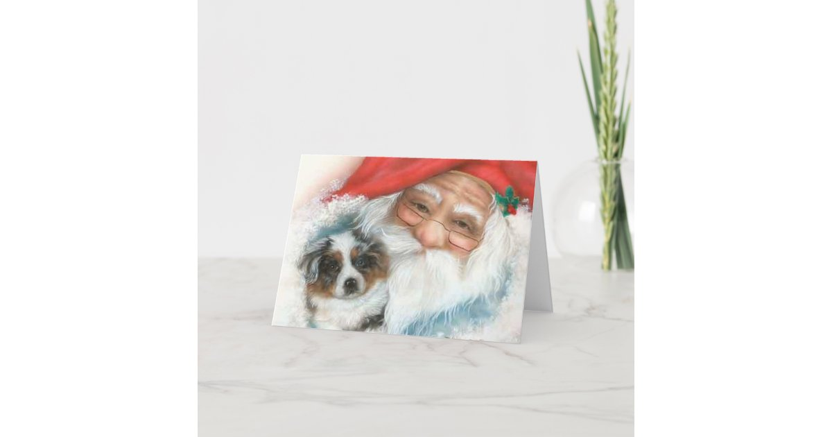 Vintage Christmas Card~Santa and Border Collie Pup Holiday Card ...