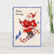 Vintage Christmas Card - Santa on Candy Cane Skis card