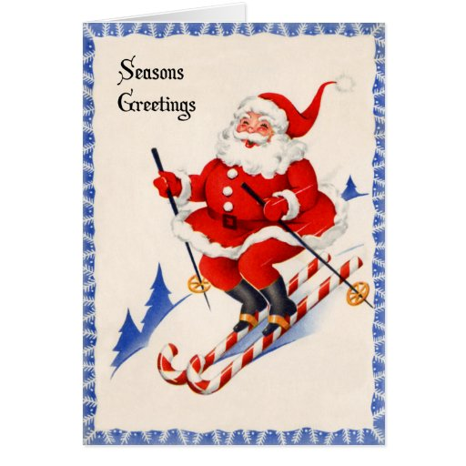 Vintage Christmas Card - Santa on Candy Cane Skis