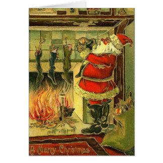 Vintage Christmas Card - Santa, Stockings