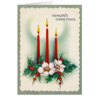 Vintage Christmas Card - Three Candles