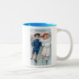 Vintage Christmas Card with Children Ice Skating Two-Tone Coffee Mug