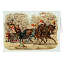 Vintage Christmas Card with Sleigh, Customize It
