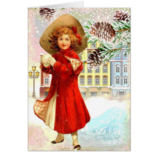 Vintage Christmas Card Young Girl Red Coat Village