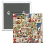 Vintage Christmas Cards Holiday Pattern 2 Inch Square Button