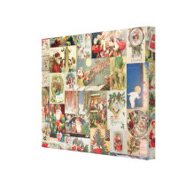 Vintage Christmas Cards Holiday Pattern Canvas Print
