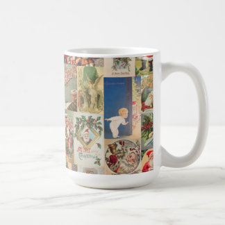 Vintage Christmas Cards Holiday Pattern Classic White Coffee Mug