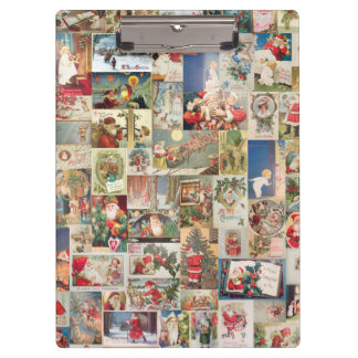 Vintage Christmas Cards Holiday Pattern Clipboard