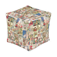 Vintage Christmas Cards Holiday Pattern Cube Pouf