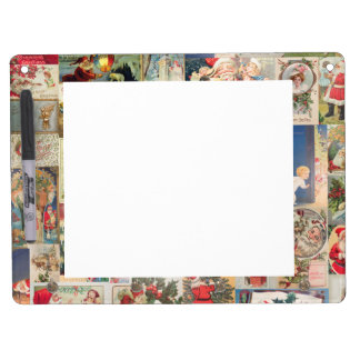 Vintage Christmas Cards Holiday Pattern Dry Erase Whiteboard