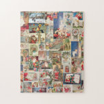 Vintage Christmas Cards Holiday Pattern Jigsaw Puzzles