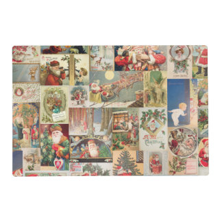 Vintage Christmas Cards Holiday Pattern Laminated Placemat