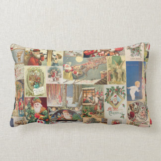 Vintage Christmas Cards Holiday Pattern Lumbar Pillow
