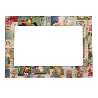 Vintage Christmas Cards Holiday Pattern Magnetic Photo Frame