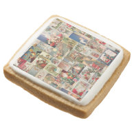 Vintage Christmas Cards Holiday Pattern Square Premium Shortbread Cookie
