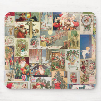 Vintage Christmas Cards Holiday Pattern Mouse Pad