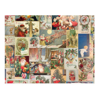 Vintage Christmas Cards Holiday Pattern Postcard
