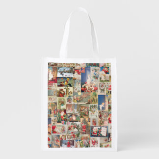 Vintage Christmas Cards Holiday Pattern Reusable Grocery Bag