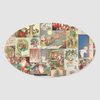 Vintage Christmas Cards Holiday Pattern Stickers