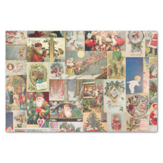Vintage Christmas Cards Holiday Pattern Tissue Paper